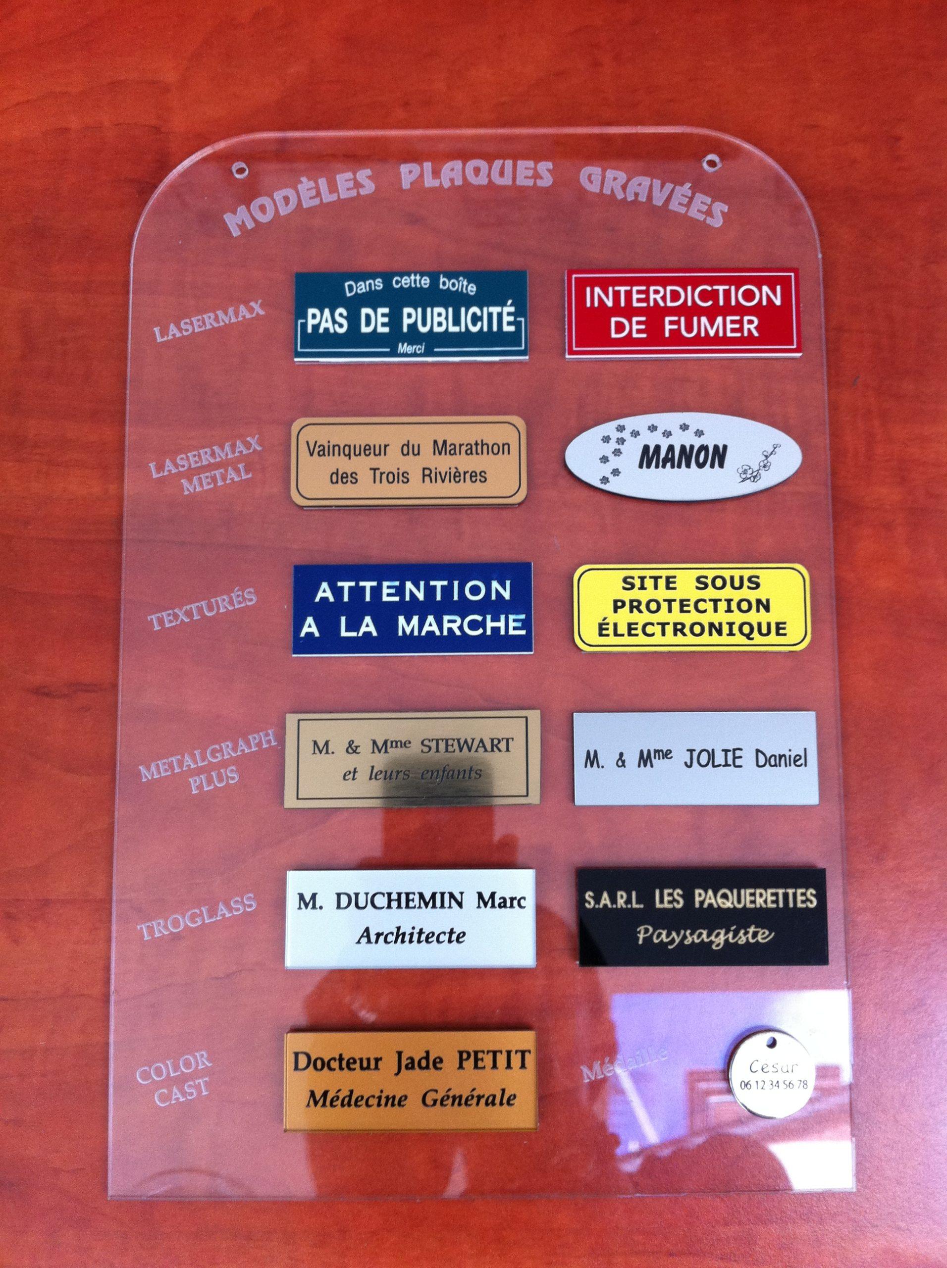 Plaque gravée PVC